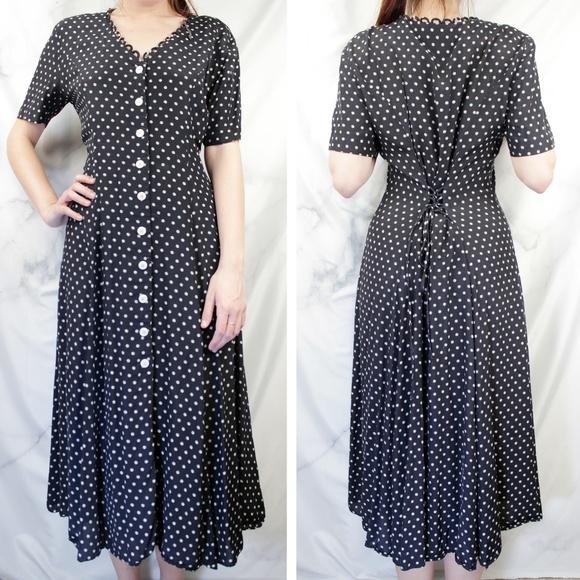 Vintage Dresses & Skirts - ✨VTG✨ Polka Dot Midi Dress